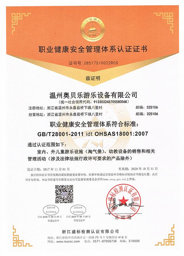 职业健康安quanguanli认证